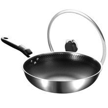 304 stainless steel wok less oil fume non-stick pan uncoated flat bottom wok household wok wok without oil smoke pot non stick stainless steel wok household iron pan flat bottom frying pan