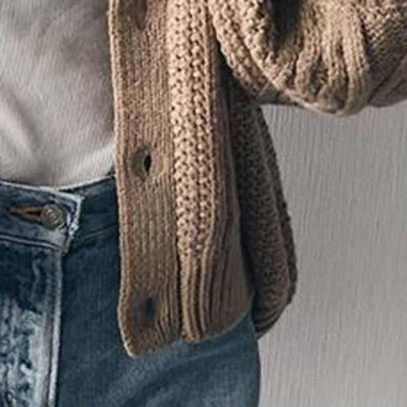 Вязаный женский свитер кардиган зимняя элегантная женская с длинным рукавом Женская Корейская теплая верхняя одежда джемпер 2019 вязаная одежда Стильный Топ