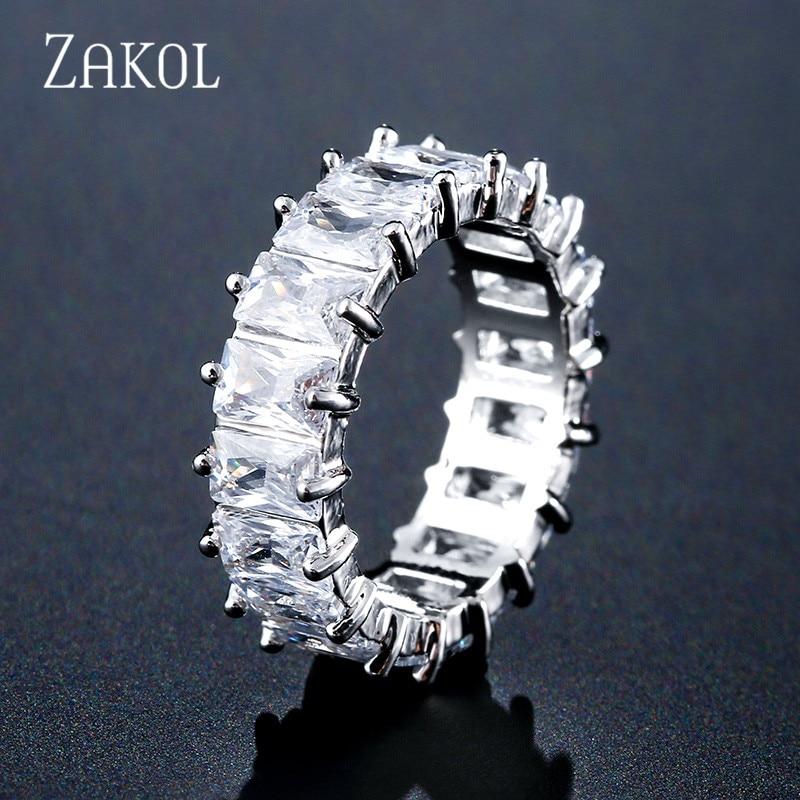 ZAKOL Fashion Mutilcolor AAA Baguette Cubic Zirconia Wedding Finger Rings for Women Luxury T Shape Stone Party Jewelry FSRP2119