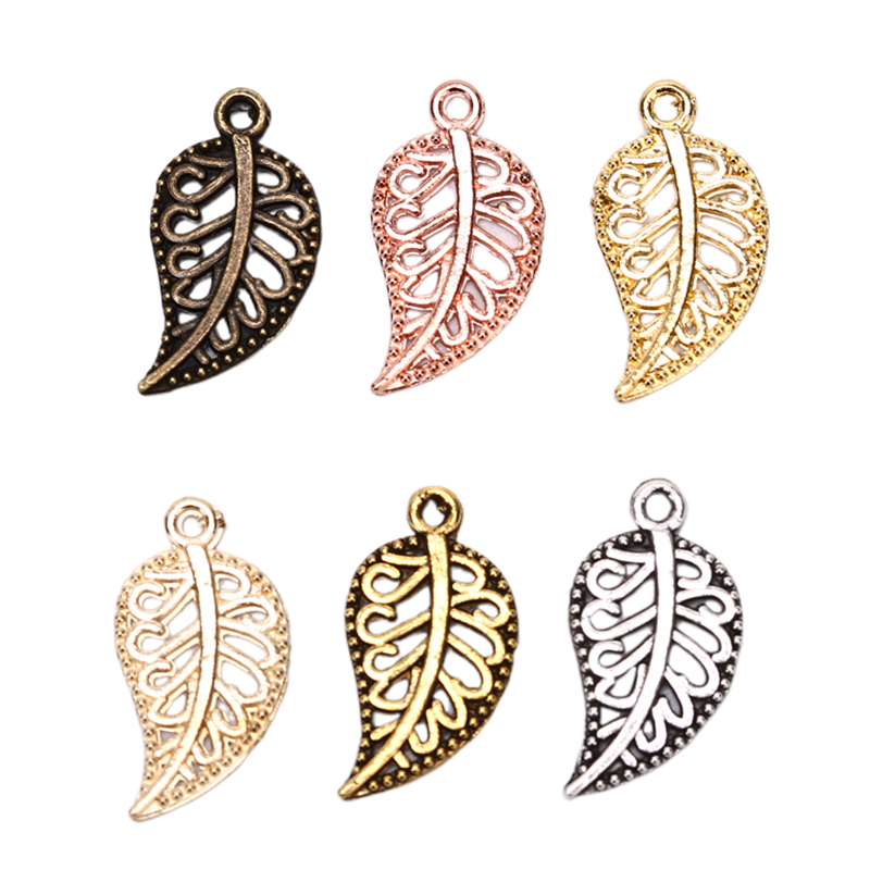 100 Pieces Bronze Filigree Hollow Leaf Charms Pendants Jewelry DIY Makings