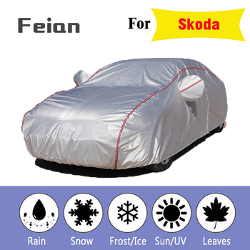Car cover Oxford waterproof Car clothes With side door Four seasons cover Reflective strips Hatchback sedan SUV for Skoda