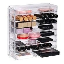 8-layer Makeup Organizer Cosmetics Powder Storage Box Acrylic Lipstick Display Stand Blush Eyeshadow Plastic Box Removable