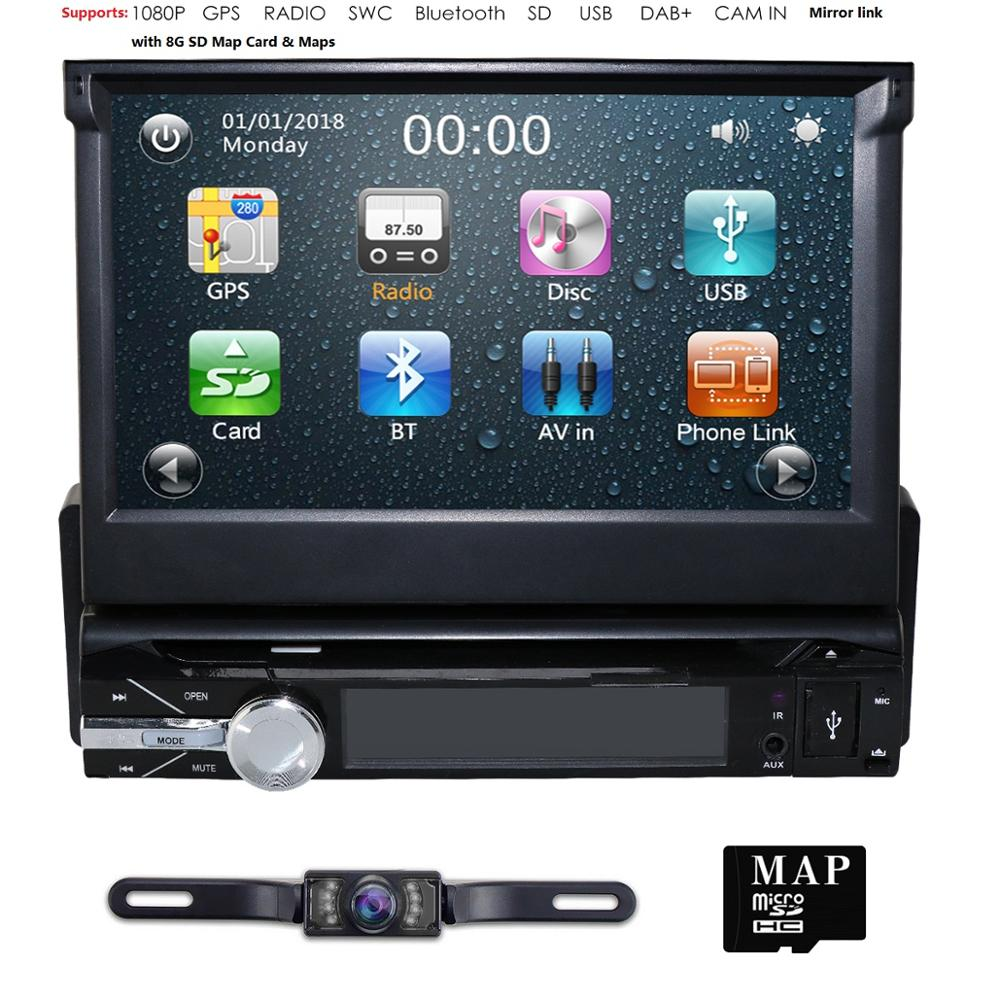 Car Auto radio 1 din Car DVD Player GPS Navigation 7 1 din tape Cassette Radio In Dash Stereo Video DAB+ BT DVBT Free-8GB Maps image