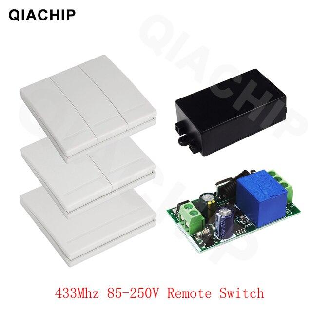 QIACHIP 433 MHz AC 85 V 110 V 220 V 1 CH Sans Fil Télécommande Récepteur Relais Commutateur Module LED lumière Lampe Contrôleur 433.92 MHz