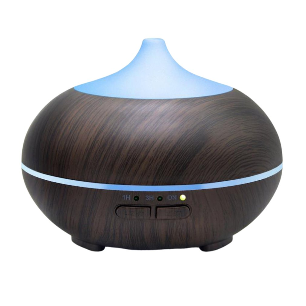 Air Humidifier Ultrasonic Aroma Essential Oil Diffuser 400Ml Aromatherapy Machine Half Wood Grain Color Changing