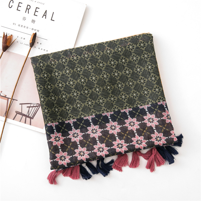 2020 Army Green Winter Scarf Women Ethnic Floral Print Scarf Women Pastoralism Soft Pashminas Shawls And Scarves Muslim Hijab