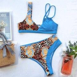 Wysokiej talii stroje kąpielowe kobiety Push Up bikini Set Patchwork strój kąpielowy dla kobiet strój kąpielowy Bandeau Trikinis Mujer Banadores 5