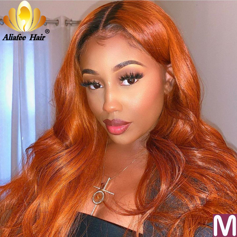 Aliafee Ombre Colored Malaysia Remy Hair Blonde Wig Body wave Ginger Orange 13x6 Human Hair Wigs 150% Pre Plucked With Baby Hair