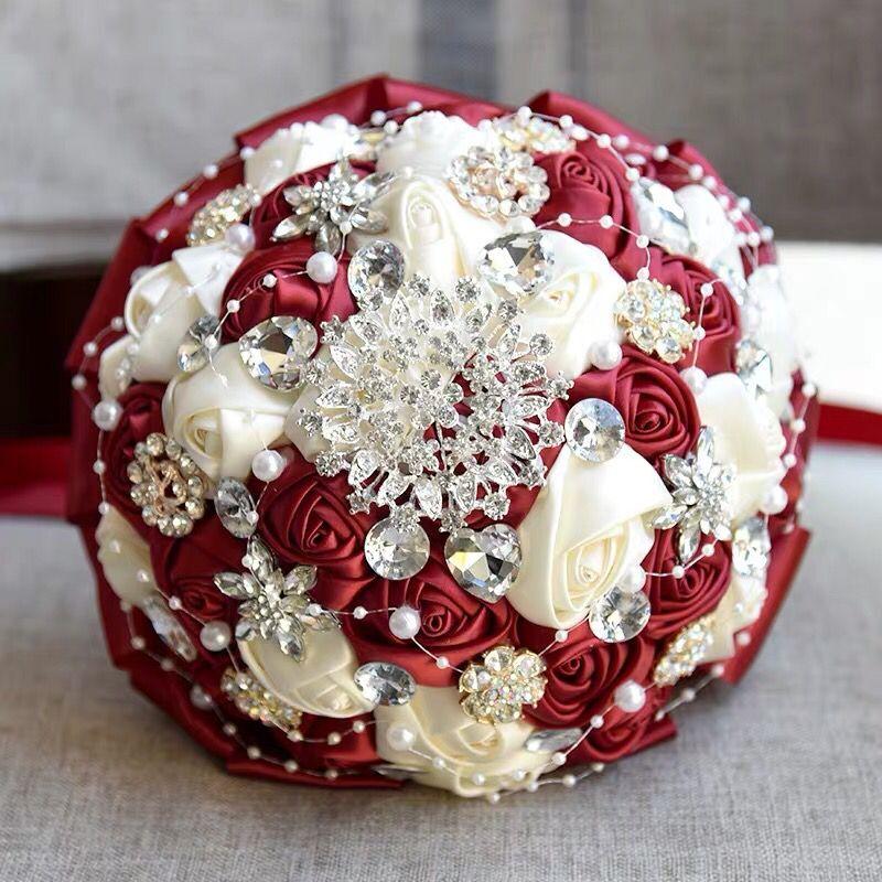 Handmade Red Artificial Rose Flowers Rhinestone Bride Bridesmaid Buequet Diamond Brooch Wedding Bouquet Flower