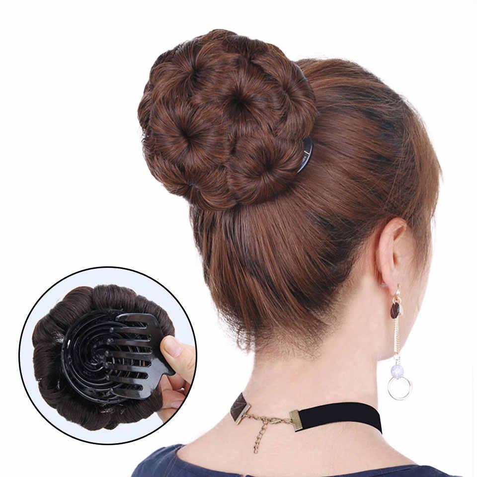 Braziliaanse Haar Remy Haar Vrouwen Krullend Chignon Haar Broodje Donut Clip In Haarstukje Extensions Menselijk Haar Chignon 99J Donkerbruin zwart