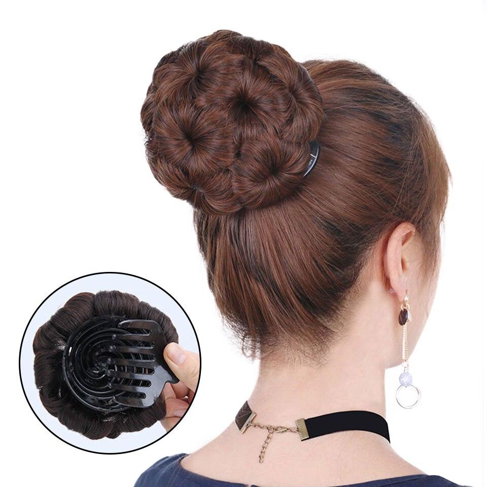 Brazilian Hair Remy Hair Women Curly Chignon Hair Bun Donut Clip In Hairpiece Extensions Human Hair Chignon 99J Dark Brown Black