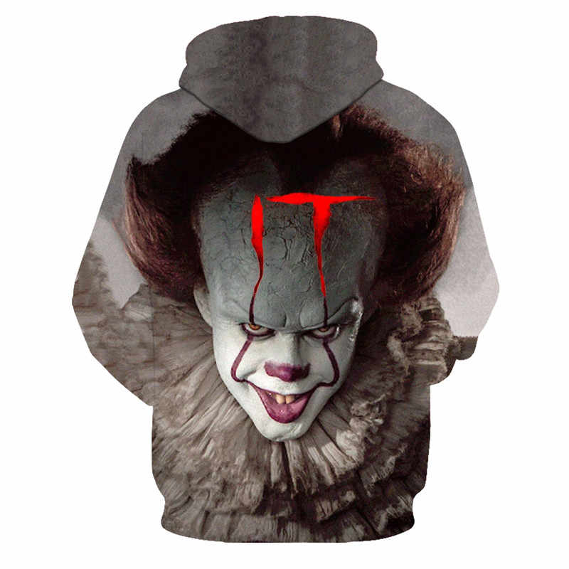 공포 영화 it clown 3d 프린트 까마귀 스웨터 남성 여성 프레디 제이슨 필름 풀오버 탑스 힙합 캐주얼 오버 사이즈 호