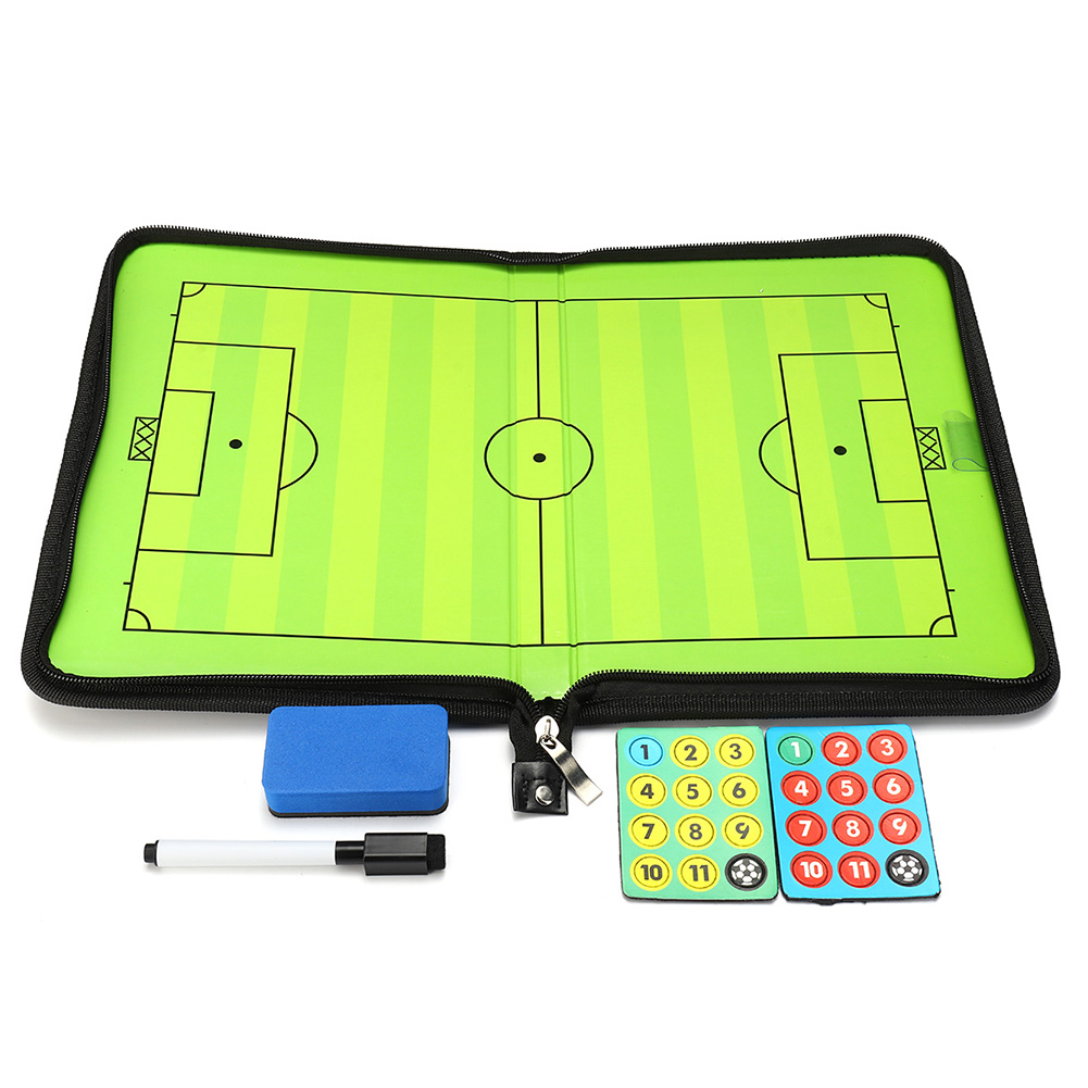 Portable Leather Magnetic Foldable Football Tactical Board Training Coaching Kit 24 Magnets For Tactic Drawing Or Noting