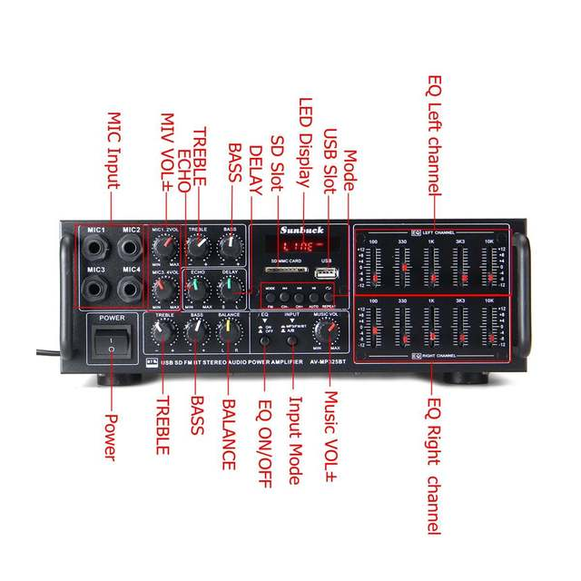 Усилитель мощности SUNBUCK 325BT, 2*60 Вт, Bluetooth, FM, SD