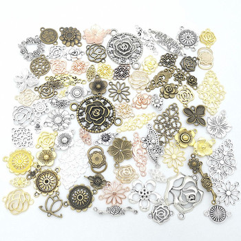 50g 100g Metal Flower Hollow Mixed Charms Pendants Antique Bracelets Necklaces DIY Accessories for Craft Jewelry Making DIY 50g 100g letters mixed charms pendants vintage antique bronze silver bracelets necklaces craft metal alloy diy jewelry making
