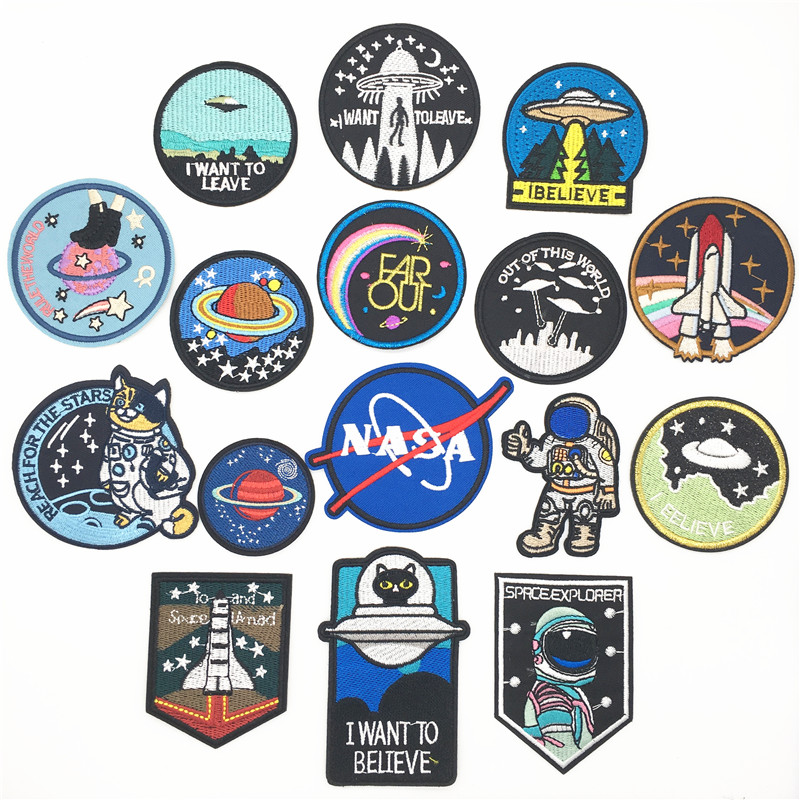 Unknown Space UFO Alien Rocket Stranger Things Iron Patch For Clothing Punk Embroidered Patches On Clothes DIY Parches Applique