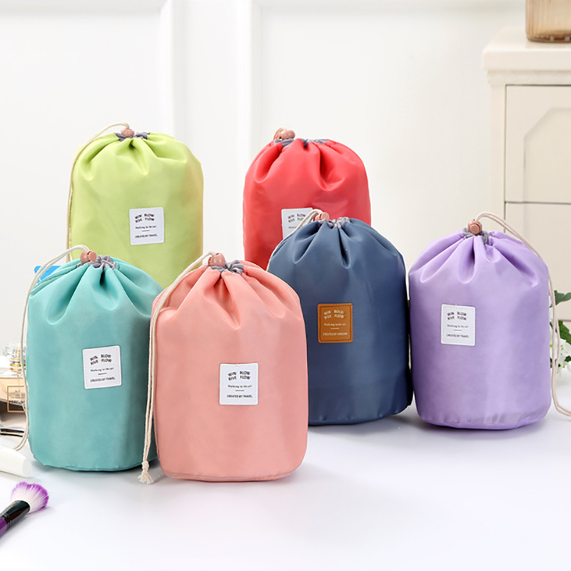 Travel Large-Capacity Cosmetic Bag  Travel Suit Wash Bag Outdoor Waterproof Storage Bag Foldable Simple Cylinder Wash Bag