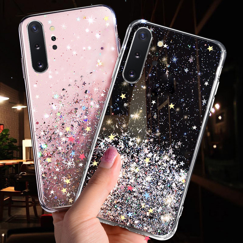 Bling Glitter Star Case For <font><b>Samsung</b></font> <font><b>Galaxy</b></font> A10 <font><b>A20</b></font> A20S A30 A40 A50 A70 A80 A90 M10 S10E S10 S9 S8 A6 J4 J6 Plus A7 2018 Cover image