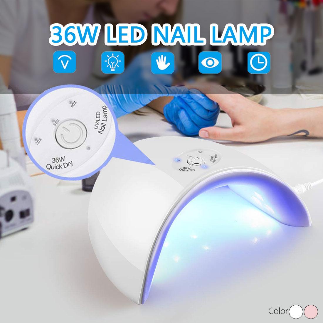 36/6W UV LED Lamp Nail UV Lamp Nail Gel Polish Machine 12LEDs Timer Control 60s/120s/Always-on Manicure Pedicure Varnish Dryer