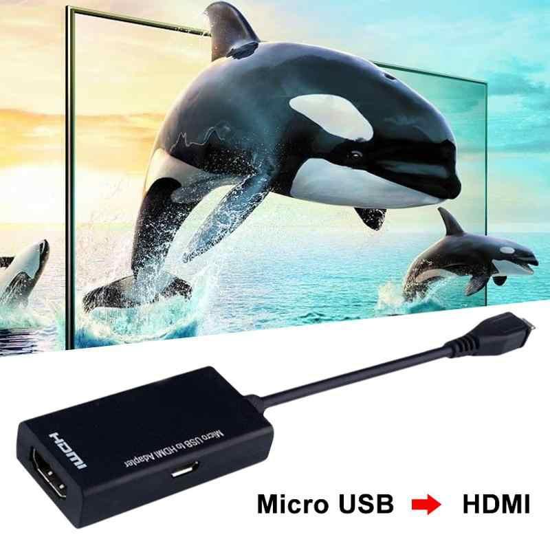 Cabo micro usb tipo c para hdmi hd, adaptador macho conversor para pc, laptop, tv caixa e dispositivos de saída vga