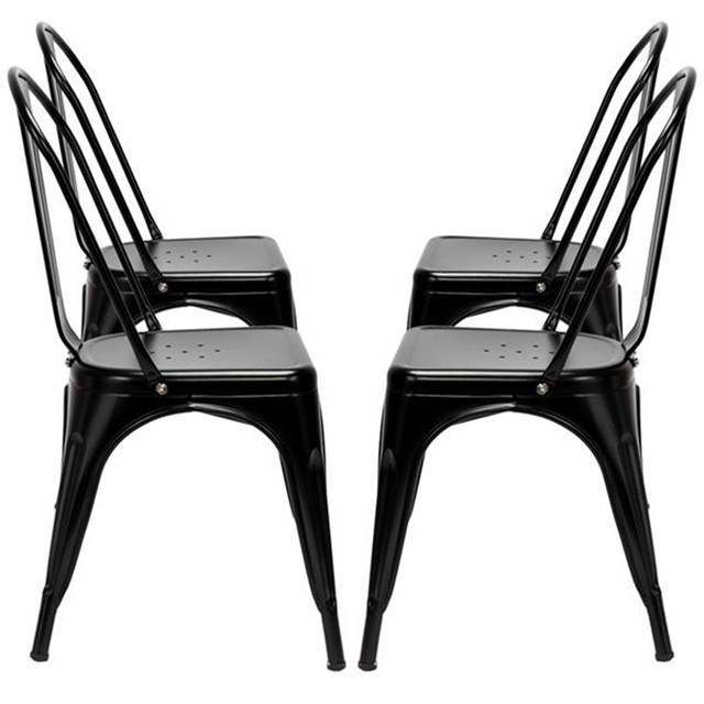 4pcs Industrial Style Iron Sheet Chair Black for Restaurants Pubs Cafes And Multiplayer Gatherings Dining chair 3
