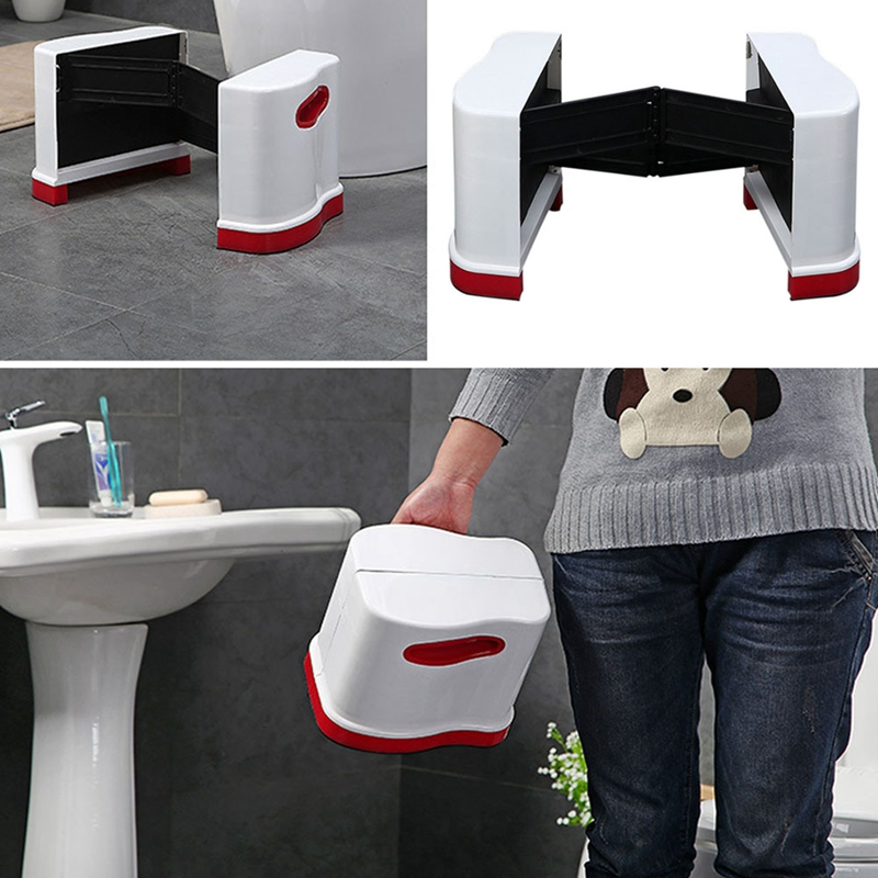 Fashion-New Collapsible Toilet Stool Ottoman Portable Stool Plastic Foot Stool Thick Bathroom Stool