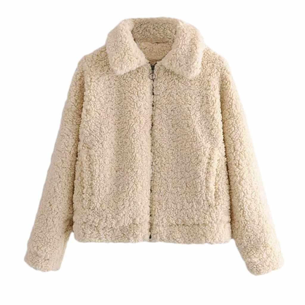 Faux Fur Coat Women Winter Warm Thick Coat Solid Overcoat Outercoat Jacket Cardigan Coat Chaqueta Mujer bontjas Teddy Coat