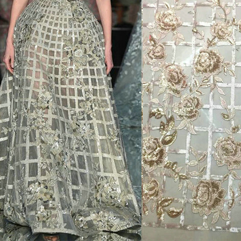 5 Yards Light Gold Flowers Sequined Lace Fabrics For Evening Dress 2019 Fashion Embroidered Mesh Party Prom Tulle Lace Material