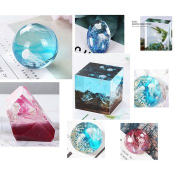 2020 nuevo 16 unids/set epoxi Material de relleno de cristal océano resina 3D Mini medusas de modelado