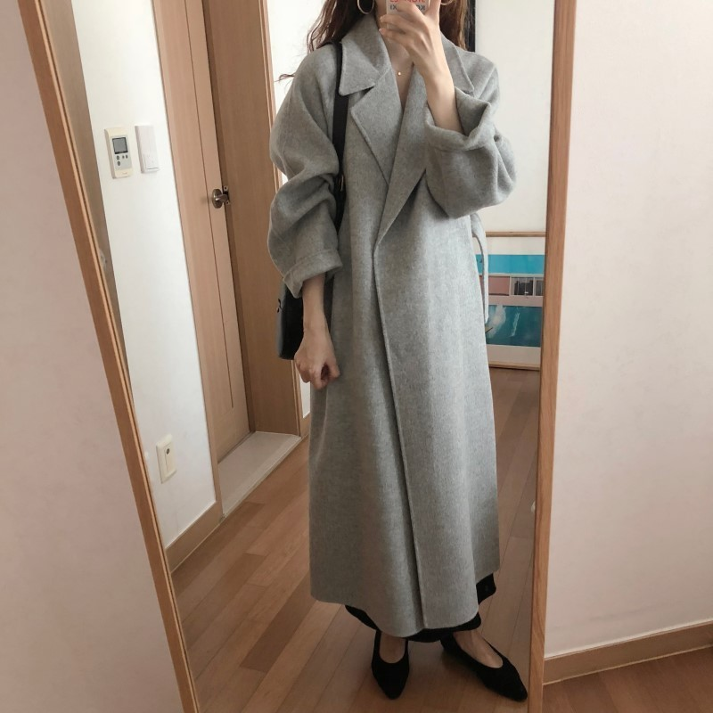 H7610fd62e9a74103bf042de96b0f4dc35 Winter Fashion Coats Women Wool-blend Coat Lazy Oaf Long Chunky Warm Coat Western Style Fitted Waist Lace-up  Loose Coat
