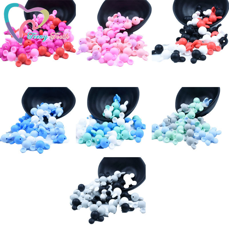 30 PCS Silicone Mickey Teether Loose Beads DIY Baby Animal Mouse Pacifier Dummy Teething Montessori Jewelry Making Toy Beads