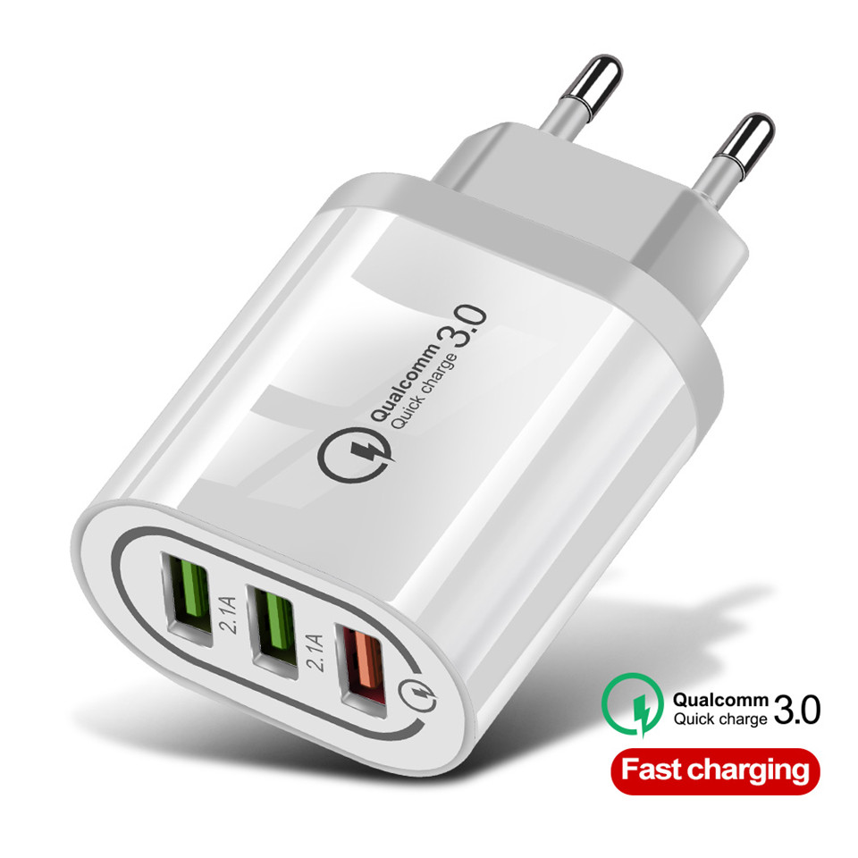 Usb-Charger Xiaomi Redmi Qc3.0-Eu/Us Samsung S10 IPhone X 18W For Note-7 3-Port