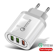 18W Quick Charge 3.0 3 Port USB Charger QC3.0 EU/US Fast for Samsung S10 Xiaomi Redmi Note 7 iPhone X Wall Phone