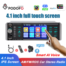 Podofo Smart AI Rechnung 1 Din Auto Stereo Radio Spiegel Link RDS AM FM Empfänger 4-USB 4,1 Zoll IPS Touchscreen MP5 Video Player