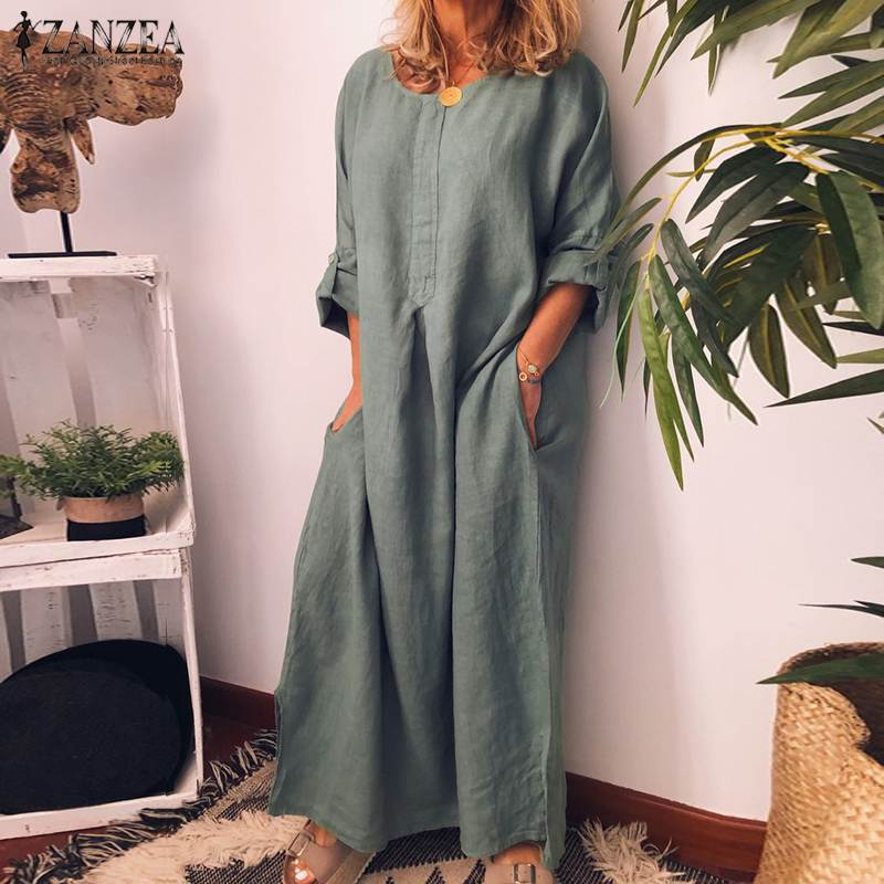 ZANZEA Vintage Women Long Sleeve Solid Dress Autumn Cotton Linen Maxi Long Sundress Robe Femme Party Dresses Vestido Kaftan Chic