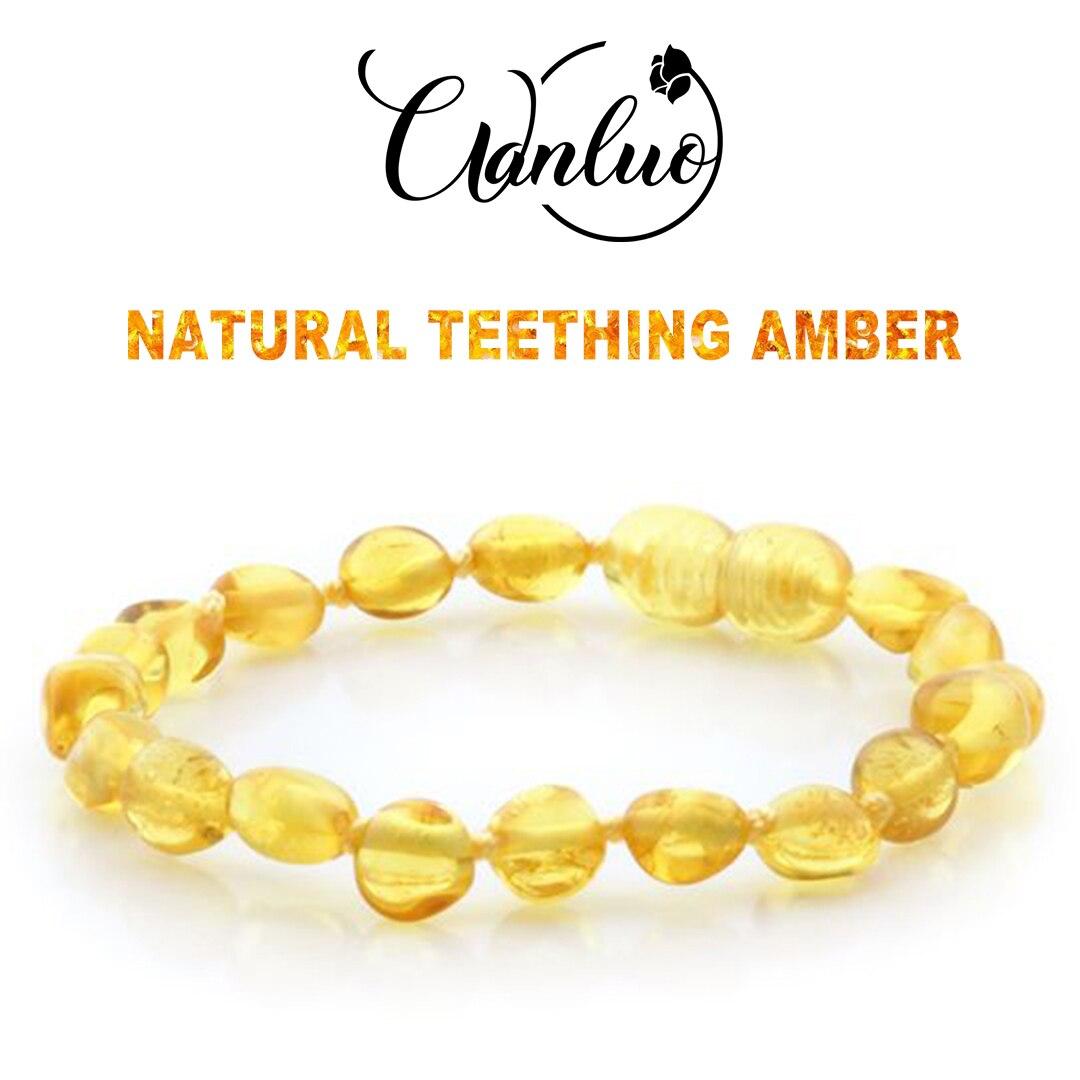 WL Polished Lemon Amber Teething Bracelets Anklets 4.7--8.7'' Handmade Original Jewelry Baltic Amber Beads for Baby Adults Women(China)
