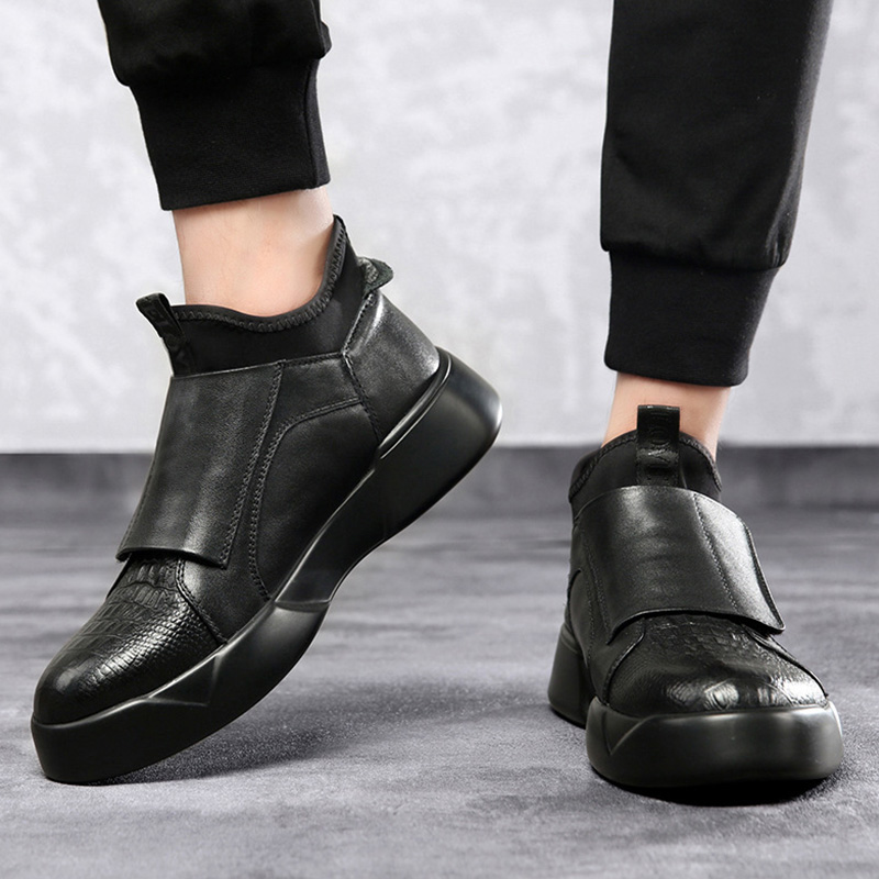 Black Leather Shoes Men Early Winter Boots Cool Young Men Fashion Chelsea Boots Men Casual Shoes Male Winter Footwear KA1756