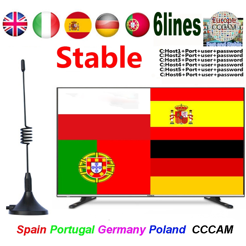 2020 Europe CCCAMS Satellite TV Receiver Warrant 1 Year Support Spain Portugal Germany Poland 6lines