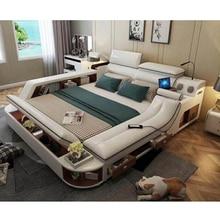 Американская Кожаная двуспальная кровать большая кровать европейская твердая деревянная спальня 1,8 м свадебная кровать