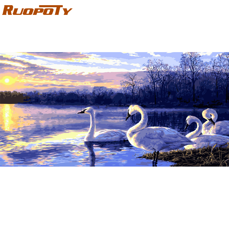 RUOPOTY Frame Picture By Numbers Swan Animals Diy Paint By Numbers Modern Wall Art Canvas Painting Handpainted For Home Decors
