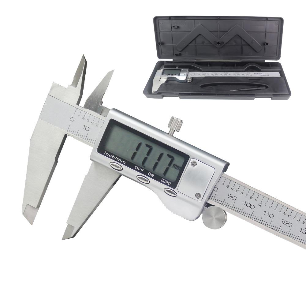 Электронный цифровой штангенциркуль, 150 мм, 200 мм, ЖК-дисплей, 6 дюймов, 8 дюймов, штангенциркуль из нержавеющей стали, микрометр, измерительны...
