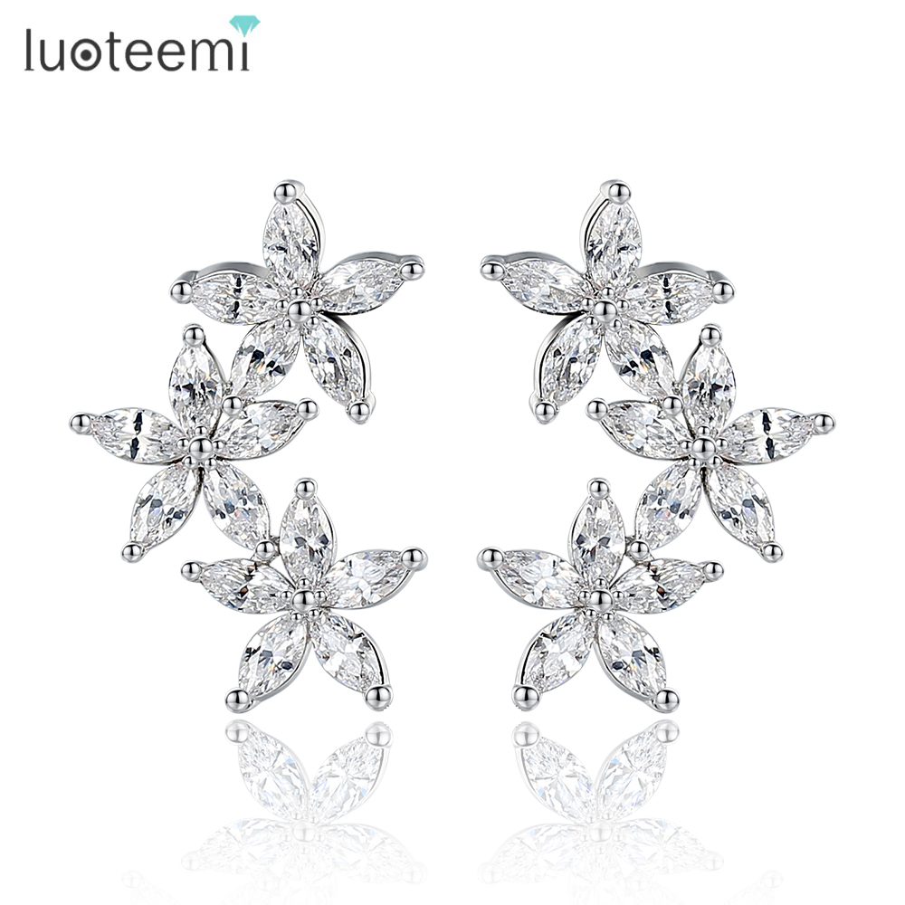 Teemi 2016 New Like Flowers Blossoming  Earrings Cubic Zircon Stud Brinc Plated Jew elry For CZ White Glod Women Wedding
