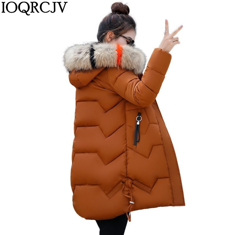 2019 Winter New Coat Jacket Long   Parkas   Fashion Women Thick Down Cotton   Parka   Female Slim Fur Collar Warm Outerwear R1013