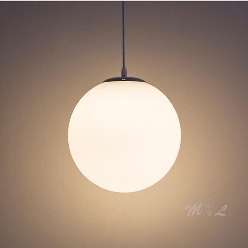 Modern Glass Ball Pendant Lights White Globe Hanging Lamps Bar Restaurant Deco Luminaire Bedroom Light Fixture Pendant Lamp Led