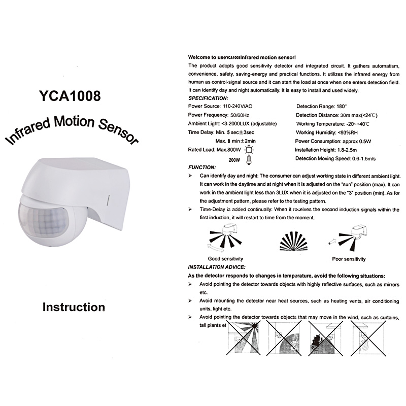 ABEDOE-Motion-Sensor-110v-230v-Motion-Detector-Automatic-Infrared-PIR-Sensor-180-Degree-Rotating-Outdoor-Timer
