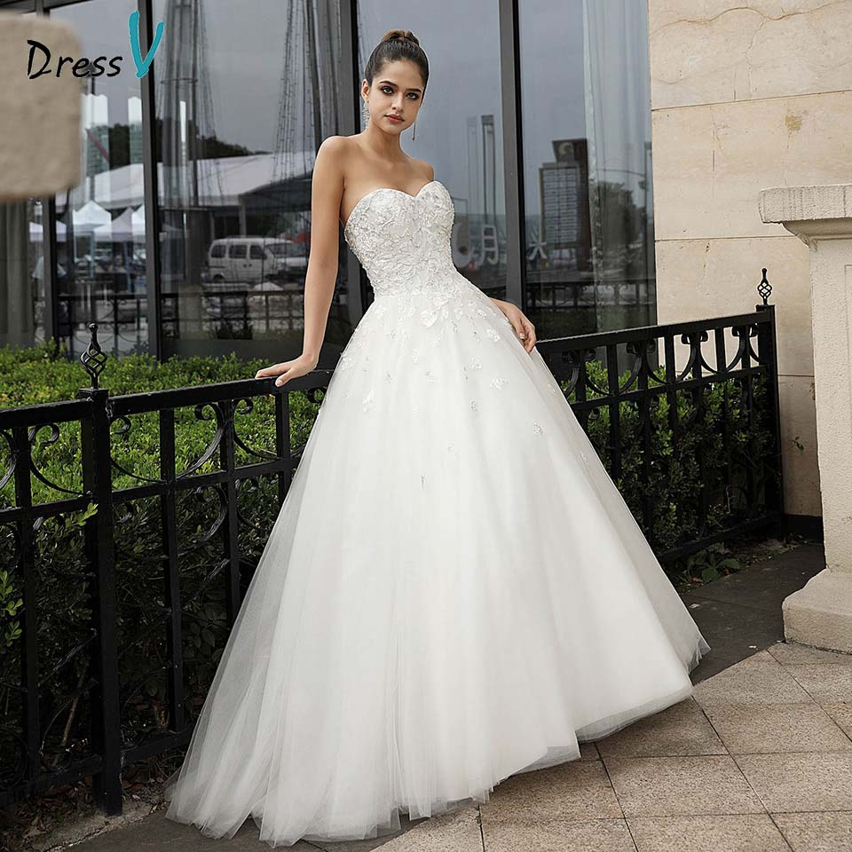 Dressv Ivory Wedding Dress Strapless Lace Up Appliques Ball Gown Sleeveless Beading Tulle Outdoor&Church Wedding Dresses