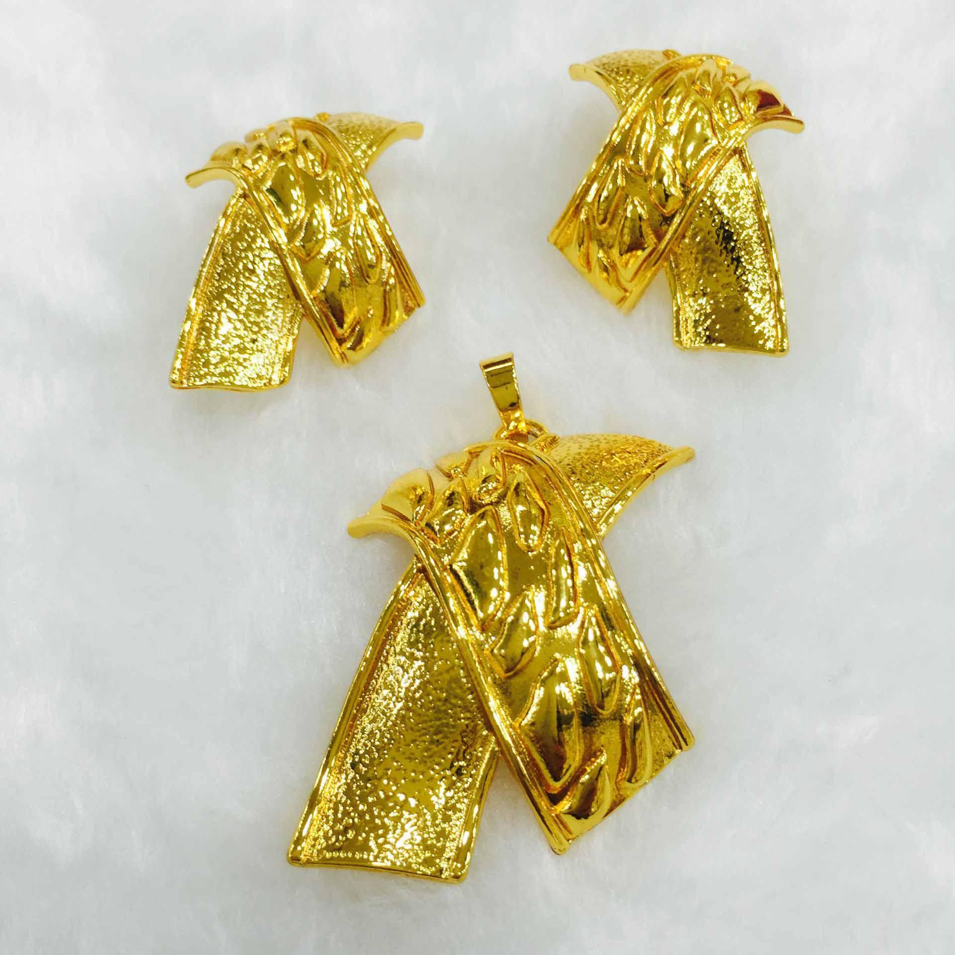 Yulaili 2019 mode grand arc pendentifs collier boucles d'oreilles Vintage femmes Dubai or Bijoux ensembles enterrement de vie de garçon cadeau Bijoux africains