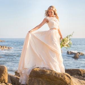 Image 1 - Vestidos De Novia 2019 New Simple Design Lace Appliques A Line Wedding Dress Elegant Sleeveless Court Train Bridal Gown