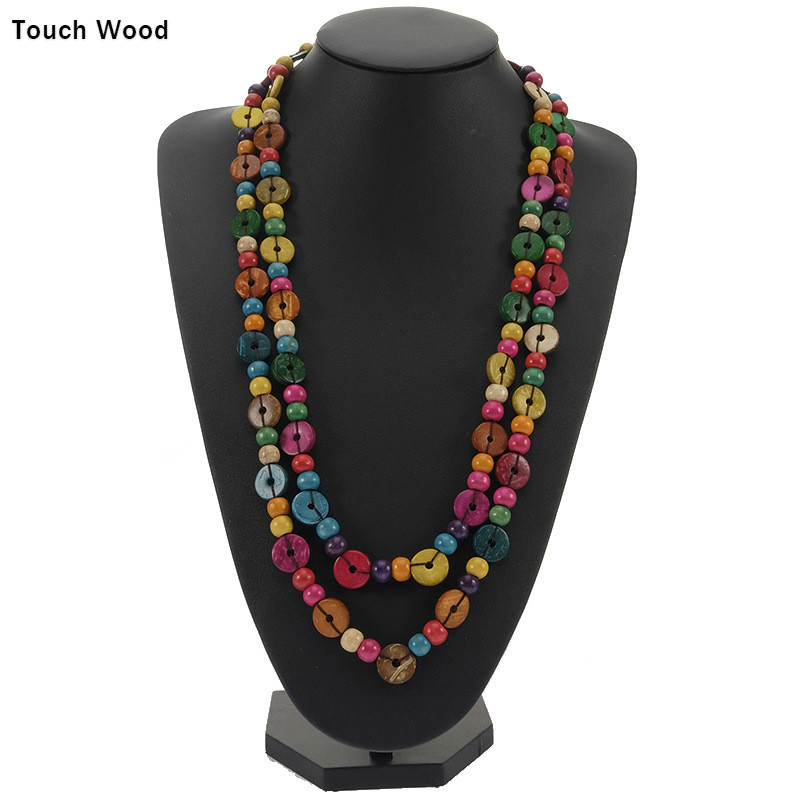 Double wooden necklace hand woven lady 39 s long necklace wholesale dropshipping in Chain Necklaces from Jewelry amp Accessories