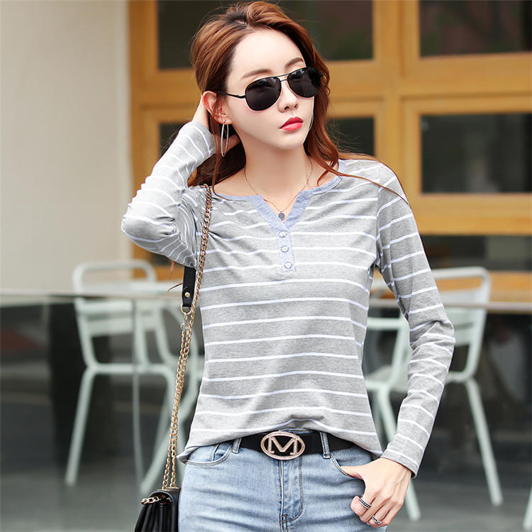 H7611e545f71e4d62b3a34919c0857cb8S - Women T-Shirt Cotton Short Long Sleeve Lady T Shirt Striped Summer Spring Autumn Female Blusa White Plus Size Fashion Top Tee T0